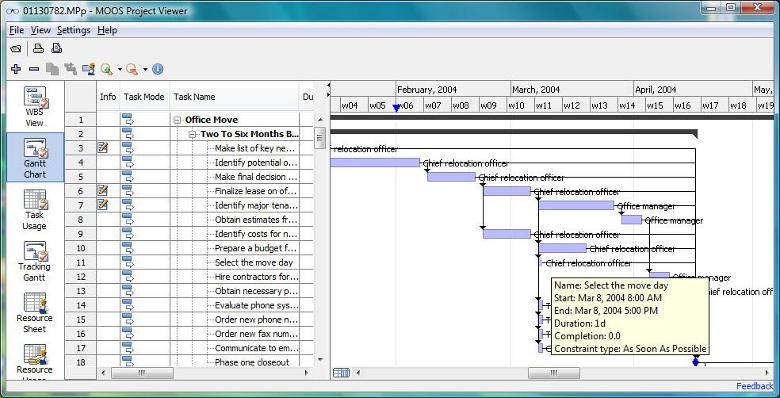 ms project templates 2010 - moos project viewer 2 0 viewer for microsoft project