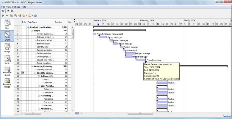 MS Project Viewer Screen shot